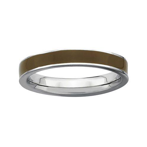 Personally Stackable Sterling Silver Brown Enamel 3.25mm Ring