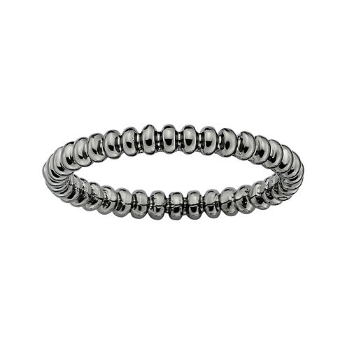 Personally Stackable Black Sterling Silver Beaded Ring