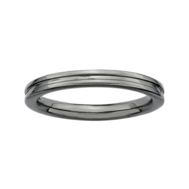 jcpenney.com | Personally Stackable Black Sterling Silver Step-Down Ring