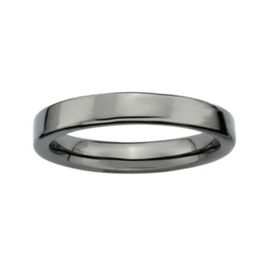 jcpenney.com | Personally Stackable Black Sterling Silver Square-Edge Ring