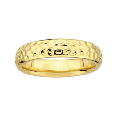 jcpenney.com | Personally Stackable 18K Yellow Gold Over Sterling Silver Pebbled Ring