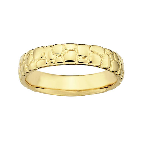 Personally Stackable 18K Yellow Gold Over Sterling Silver Stackable Ring