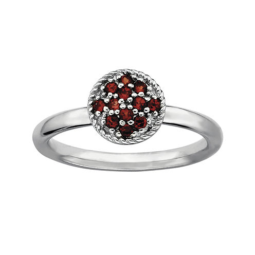 Personally Stackable Genuine Garnet Sterling Silver Stackable Ring