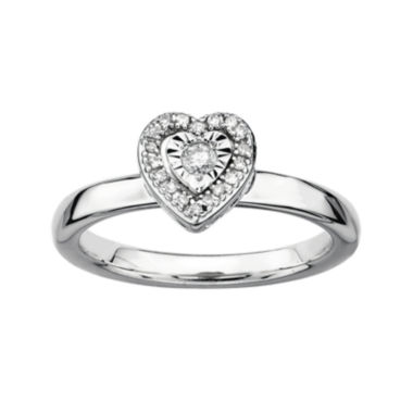 jcpenney.com | Personally Stackable 1/10 CT. T.W. Diamond Sterling Silver Heart Stackable Ring