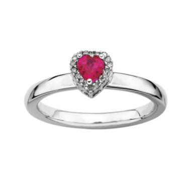 jcpenney.com | Personally Stackable Diamond-Accent Lab-Created Ruby Heart Ring