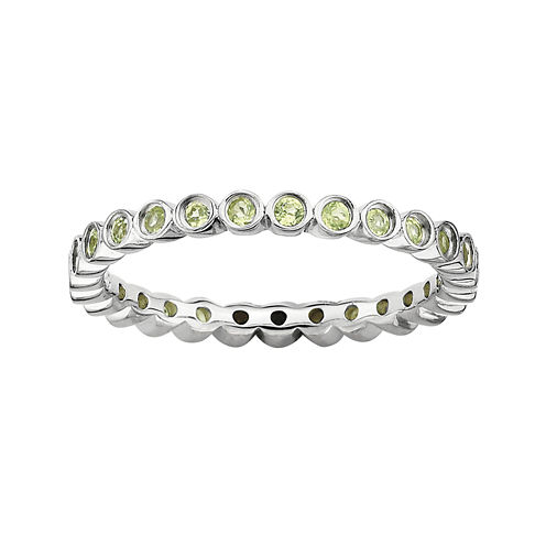 Personally Stackable Genuine Peridot Sterling Silver Ring