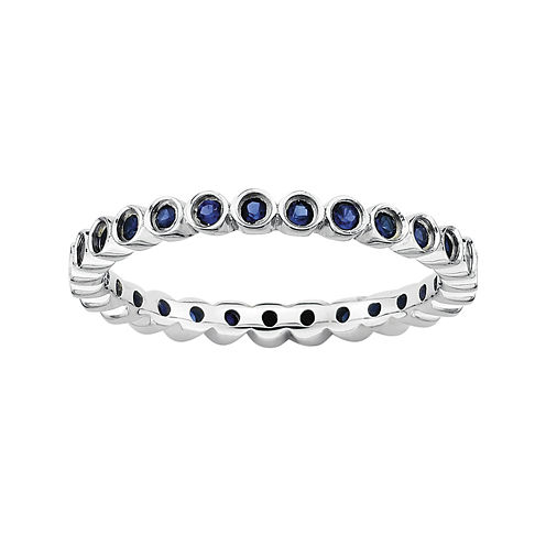 Personally Stackable Lab-Created Blue Sapphire Sterling Silver Ring