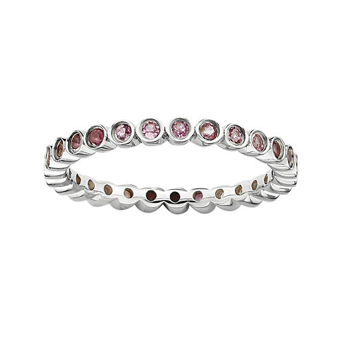 Personally Stackable Genuine Pink Tourmaline Sterling Silver Ring