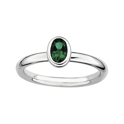 Personally Stackable Oval Lab-Created Emerald Ring