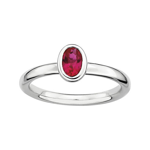 Personally Stackable Oval Lab-Created Ruby Ring