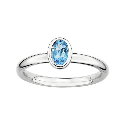 Personally Stackable Oval Genuine Blue Topaz Ring