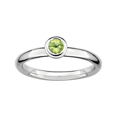 Personally Stackable 4mm Round Genuine Peridot Ring
