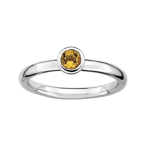 Personally Stackable 4mm Round Genuine Citrine Ring