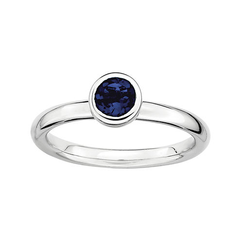 Personally Stackable 5mm Round Lab-Created Blue Sapphire Ring