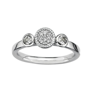 jcpenney.com | Personally Stackable Double White Topaz & Diamond-Accent Ring