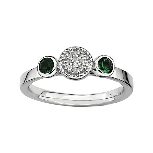 Personally Stackable Double Lab-Created Emerald & Diamond-Accent Ring