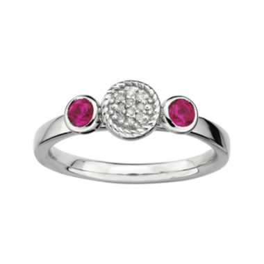 jcpenney.com | Personally Stackable Double Lab-Created Ruby & Diamond-Accent Ring