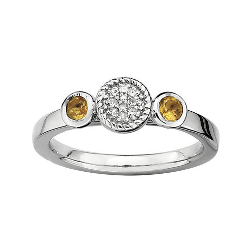 Personally Stackable Double Citrine & Diamond-Accent Ring