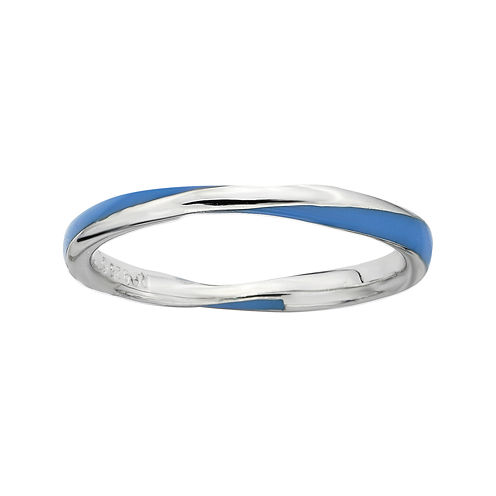 Personally Stackable Sterling Silver Twisted Blue Enamel Ring