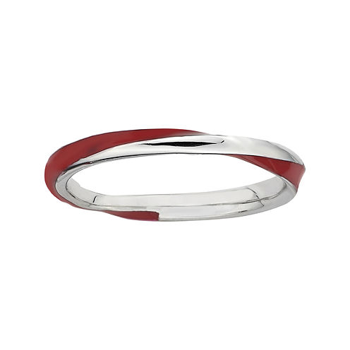 Personally Stackable Sterling Silver Twisted Red Enamel Ring