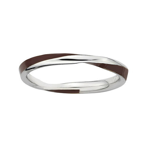 Personally Stackable Sterling Silver Twisted Brown Enamel Ring