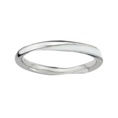jcpenney.com | Personally Stackable Sterling Silver Twisted White Enamel Ring