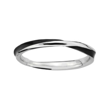 jcpenney.com | Personally Stackable Sterling Silver Twisted Black Enamel Ring