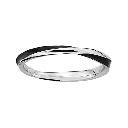 Personally Stackable Sterling Silver Twisted Black Enamel Ring