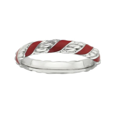 jcpenney.com | Personally Stackable Sterling Silver Red Enamel Ribbon Ring