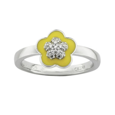 jcpenney.com | Personally Stackable Cubic Zirconia and Enamel Flower Ring
