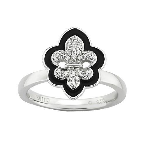 Personally Stackable Cubic Zirconia and Enamel Fleur-de-Lis Ring