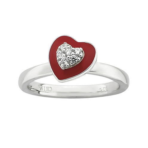 Personally Stackable Cubic Zirconia and Enamel Heart Ring