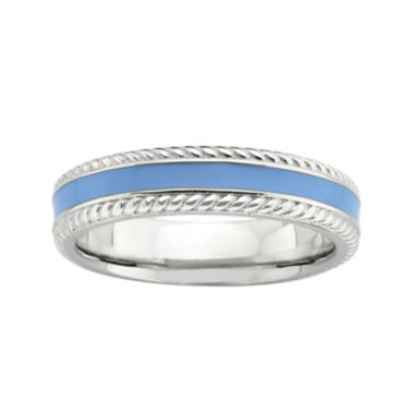 jcpenney.com | Personally Stackable Sterling Silver Blue Enamel Braided Edge Ring