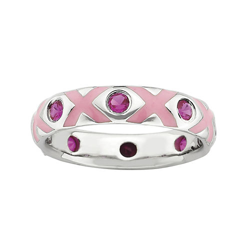 Personally Stackable Lab-Created Ruby and Enamel Ring