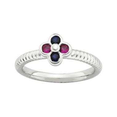 jcpenney.com | Personally Stackable Lab-Created Ruby & Sapphire Flower Ring