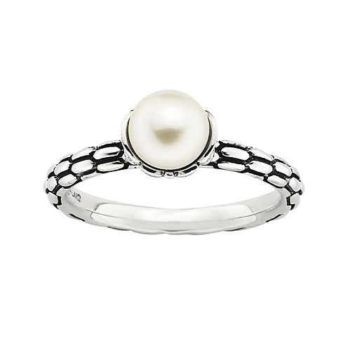 Personally Stackable Cultured Freshwater Pearl Patterned Ring