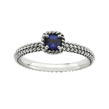 jcpenney.com | Personally Stackable Square Lab-Created Sapphire Ring