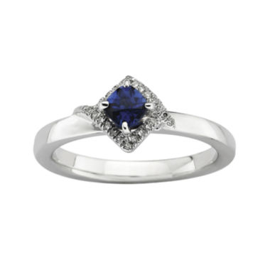 jcpenney.com | Personally Stackable 1/10 CT. T.W. Diamond and Lab-Created Sapphire Ring