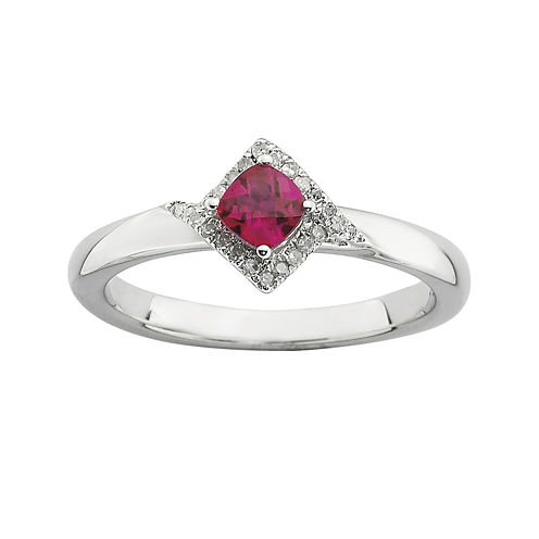 Personally Stackable 1/10 CT. T.W. Diamond and Lab-Created Ruby Ring