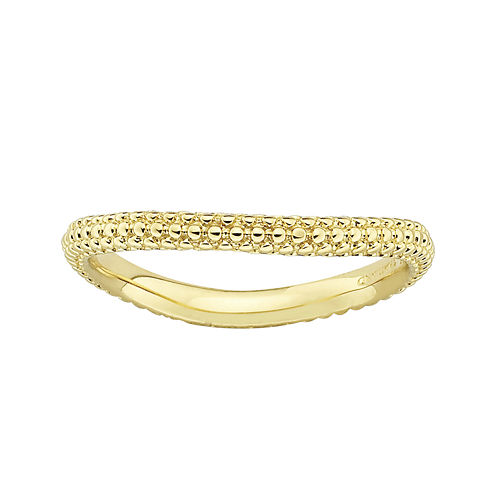 Personally Stackable 18K Yellow Gold Over Sterling Silver Beaded Dome Wave Ring