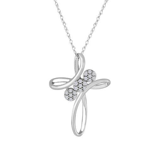 diamond blossom 1/10 CT. T.W. Diamond 10K White Gold Cross Pendant Necklace