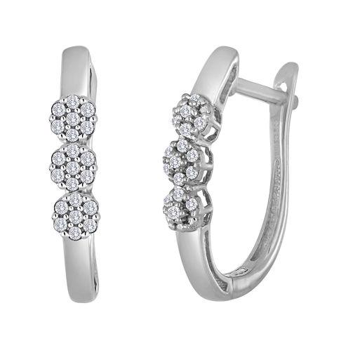 diamond blossom 1/4 CT. T.W. Diamond 10K White Gold Cluster Hoop Earrings
