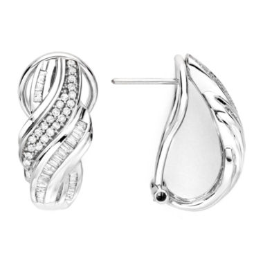 jcpenney.com | 1/2 CT. T.W. Diamond 10K White Gold Twist Half-Hoop Earrings