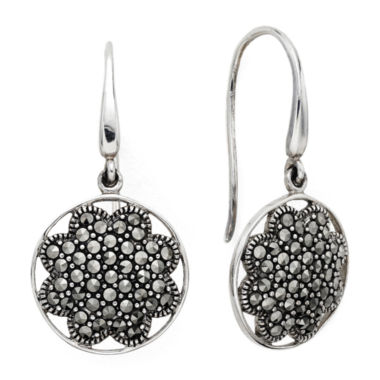 jcpenney.com | Pavé Marcasite Sterling Silver Drop Earrings