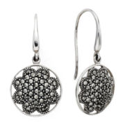 Pavé Marcasite Sterling Silver Drop Earrings