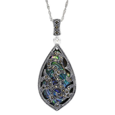 Sterling silver marcasite pendant marcasite and abalone shell sterling silver teardrop pendant necklace mozeypictures Gallery