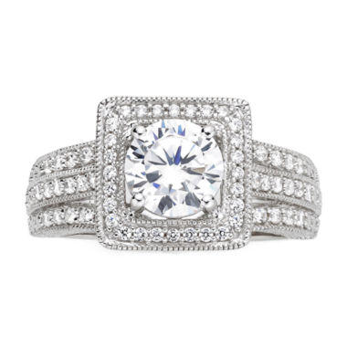 jcpenney.com | DiamonArt® Cubic Zirconia Sterling Silver Vintage-Style Square Ring