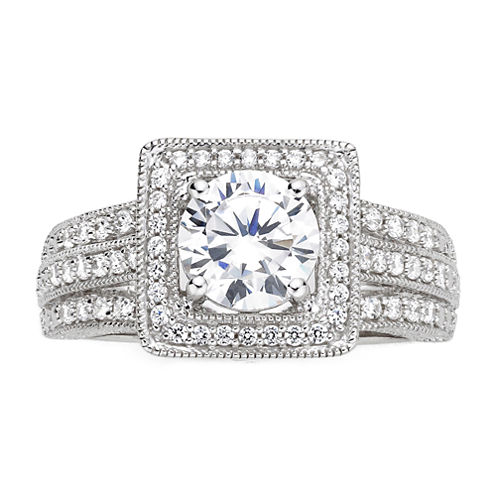 DiamonArt® Cubic Zirconia Sterling Silver Vintage-Style Square Ring