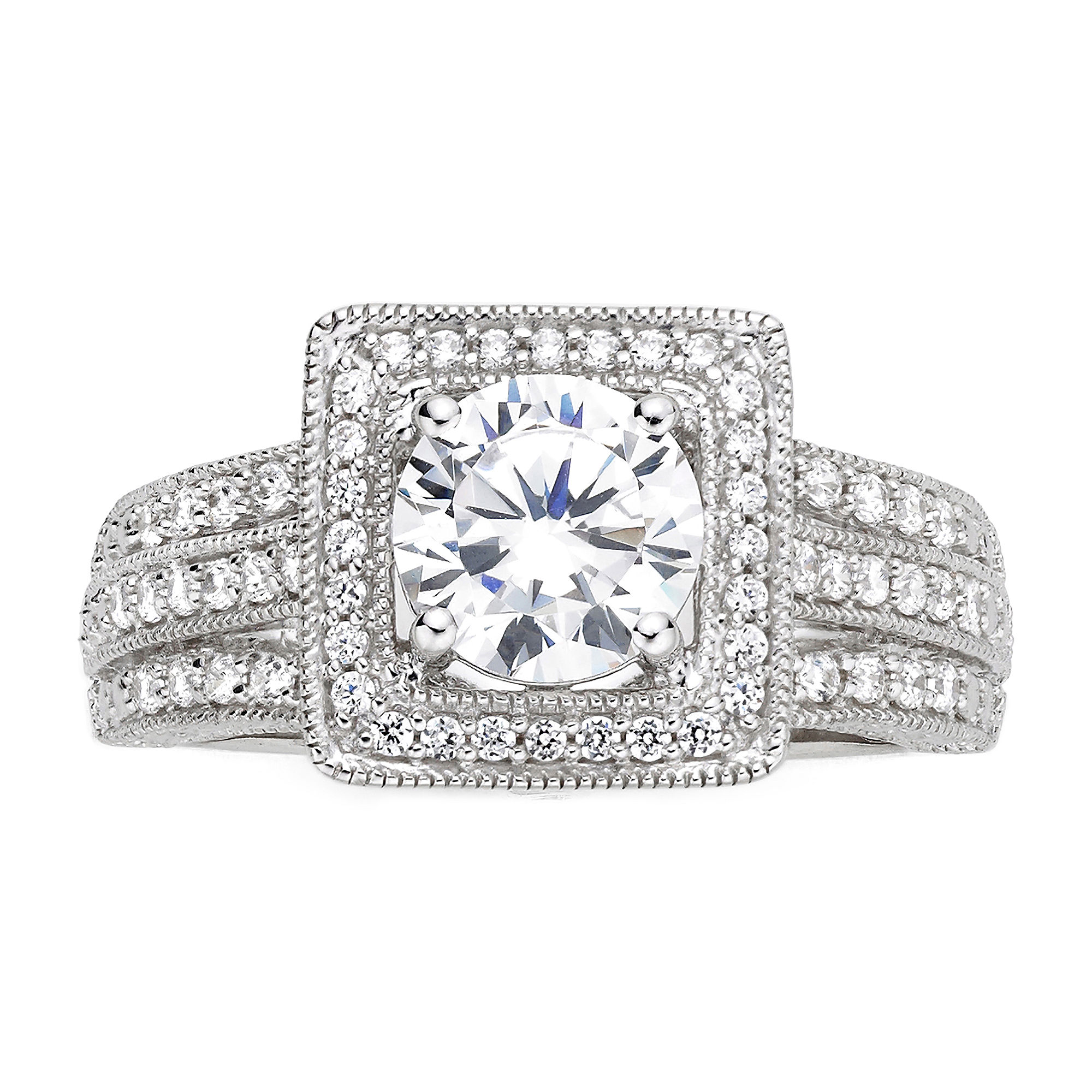 DiamonArt Cubic Zirconia Sterling Silver Vintage-Style Square Ring plus size,  plus size fashion plus size appare