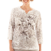 Alfred Dunner® Glacier Lake 3/4-Sleeve Floral & Animal Print Top - Petite